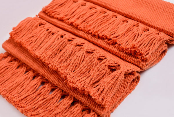 Coral Orange Handwoven Cotton Placemats - Set of 6 Summer Collection