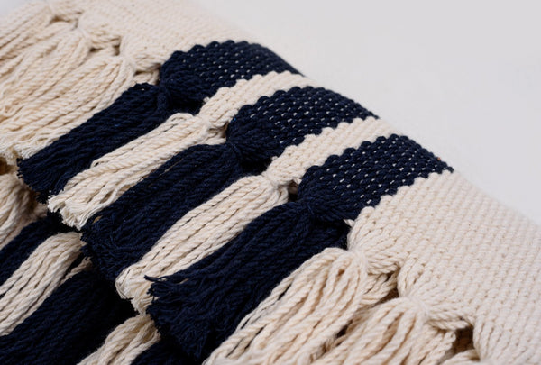 Colonial Navy Blue & Natural Color Handwoven Cotton Placemats - Set of 6 Core Collection