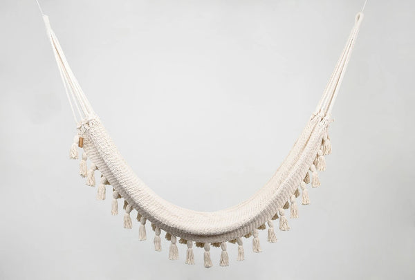 Boho Natural Cotton Hammock with Tassels