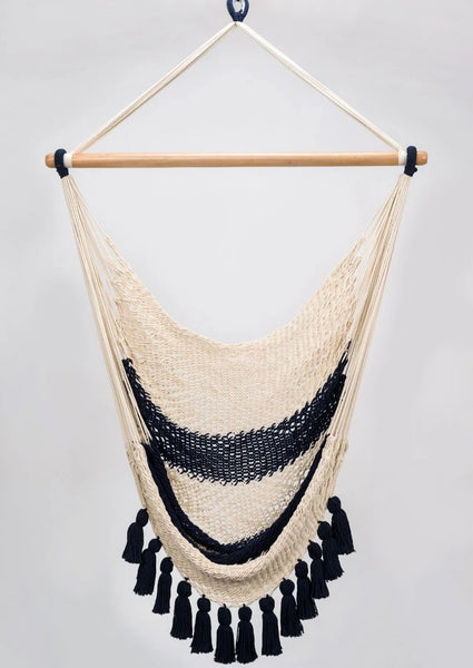 Cotton Navy Blue Hammock Swing With Tassels Handmade High Quality