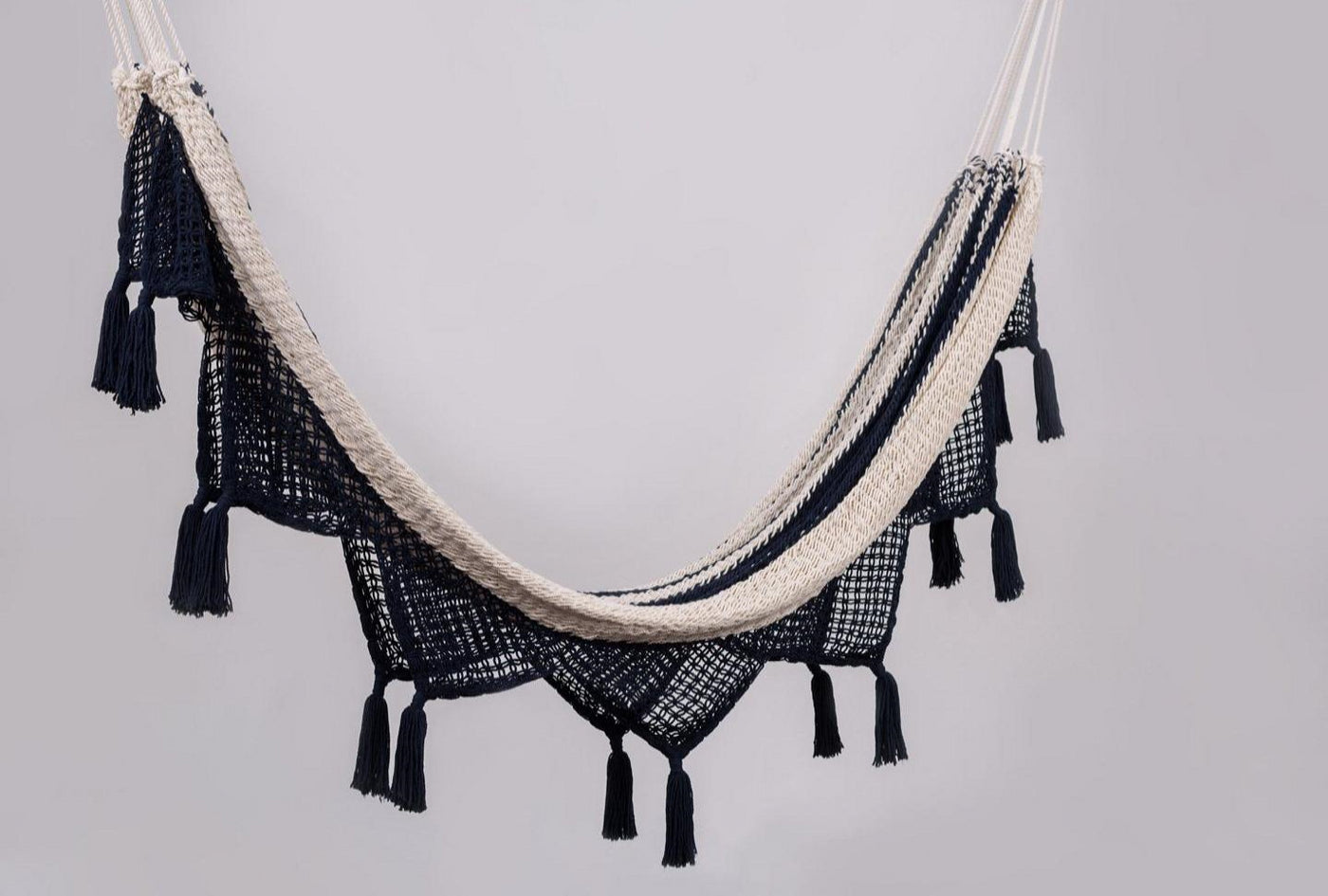 Cotton Navy Blue Hammock With Tassels Handmade High Quality