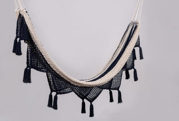 Luxury High End Hammock With Tassels Handwoven Cotton Colonial Navy Blue