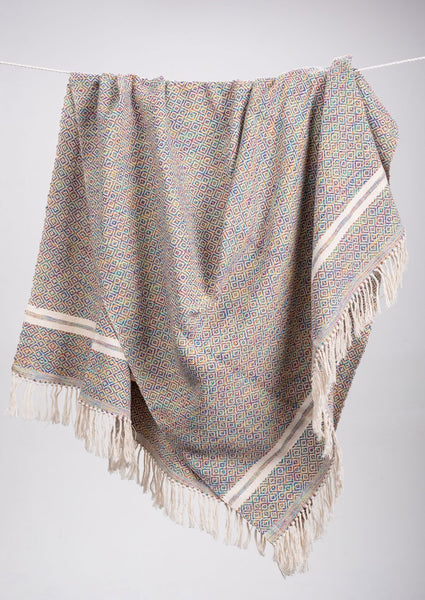 Diamante Striped Cotton Throws & Blankets in Hue Inspired Tones (4 sizes)