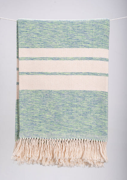 Herringbone Striped Cotton Throws & Blankets in Musgo (4 sizes)