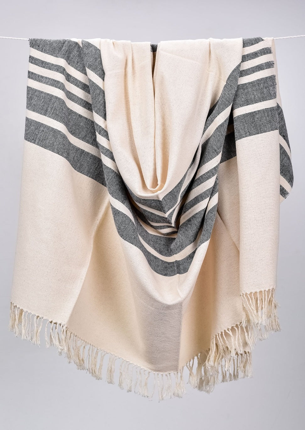 Monochromatic Cotton Throws & Blankets with Border Stripes