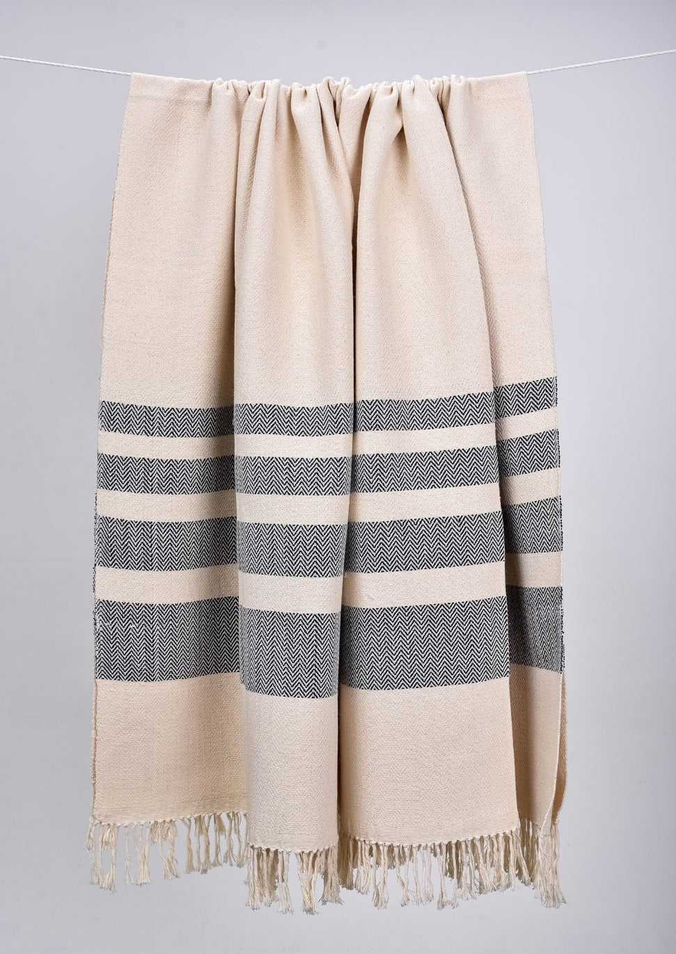 Monochromatic Cotton Throws & Blankets with Herringbone Stripes (4 sizes)