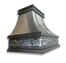 Load image into Gallery viewer, Non Directional Stainless Range Hood - Hot Rolled Steel and Zinc Accents