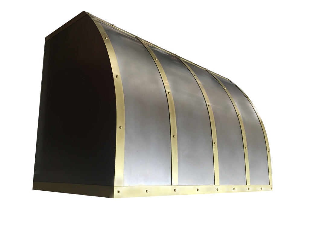 Test (11) Non Directional Stainless Range Hood - Light Patina Brass Straps