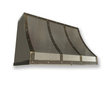 Load image into Gallery viewer, Non Directional Stainless Range Hood - Dark Patina Brass Straps