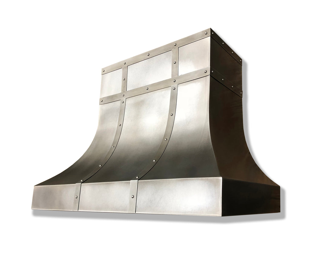 Modeled Patina Zinc Range Hood - Zinc Accents
