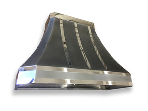 Zinc Range Hood - Mirrored Accents