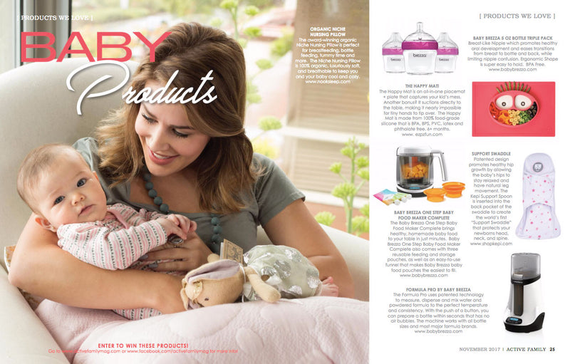 ezpz, the original silicone kids plate, featured in Active Family Magazine