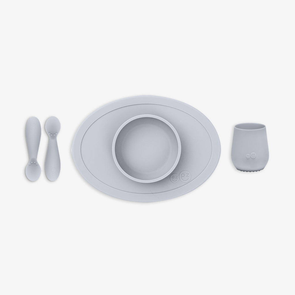 First Foods Set by ezpz / The Original All-In-One Silicone Plates & Placemats that Stick to the Table