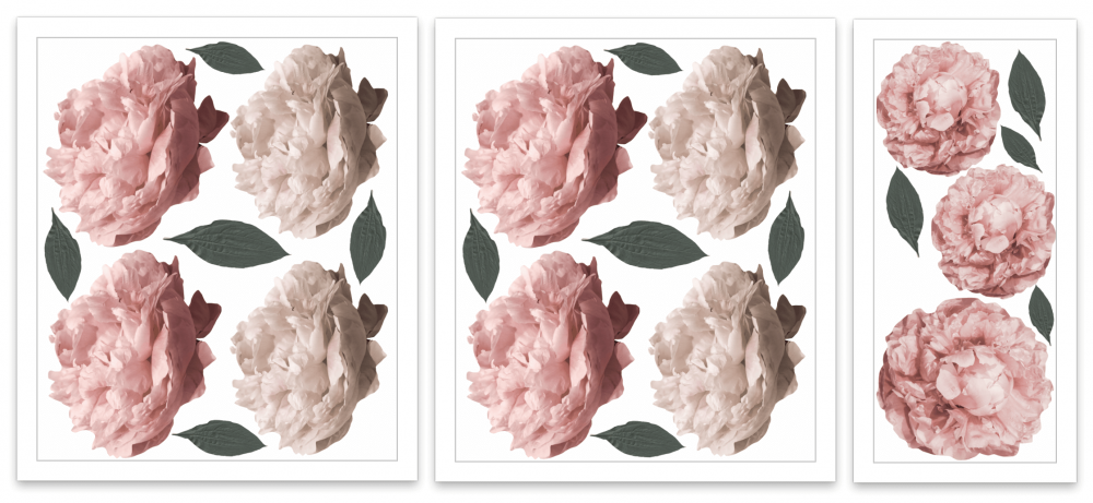 Wall Decals – Dusty Pink Peonies - FULL PACK