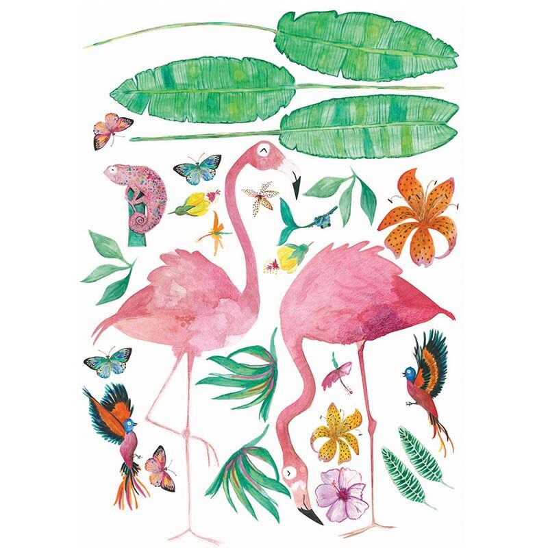Cut and stick Jungalow Decals - Flamingo Set