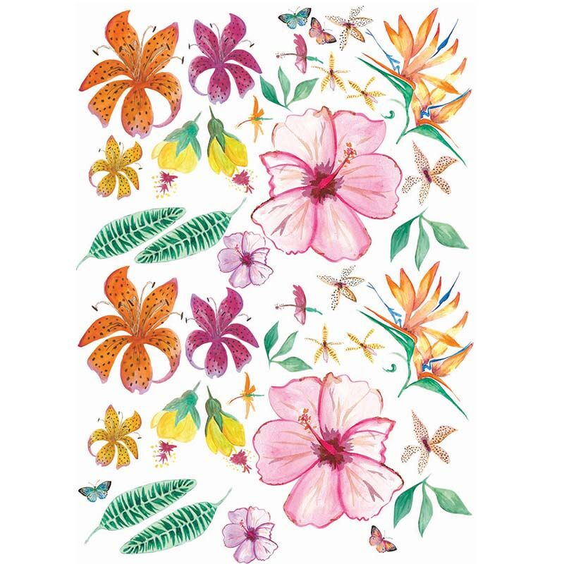 Cut and stick Jungalow Decals - Tropical Flowers set