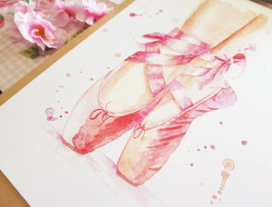 Ballet Slippers prints - A4 or A3