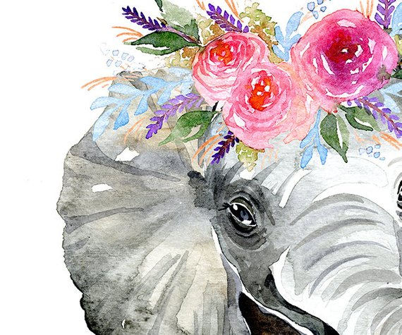 Elephant with Flower Crown- A4 or A3