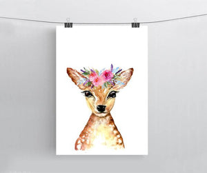 Deer with Flower crown print - A4 or A3