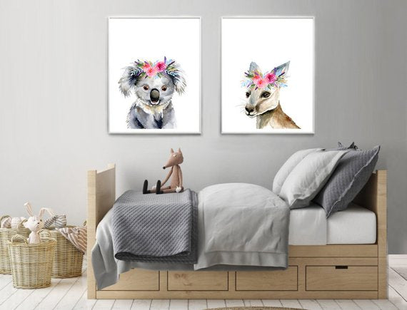 Set of two prints - Koala and Kangaroo with pink Flower Crowns ( A4 and A3)