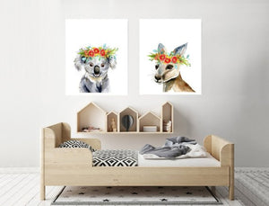 Set of two prints - Koala and Kangaroo with Native Flower Crowns ( Various sizes)