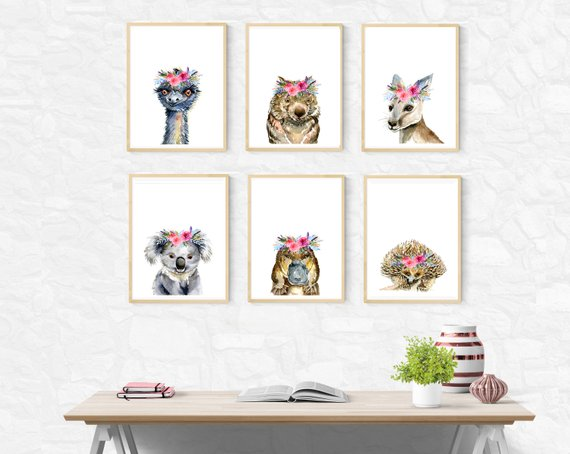 SET OF 6 - Australian Native Animals with Pink Flower Crowns