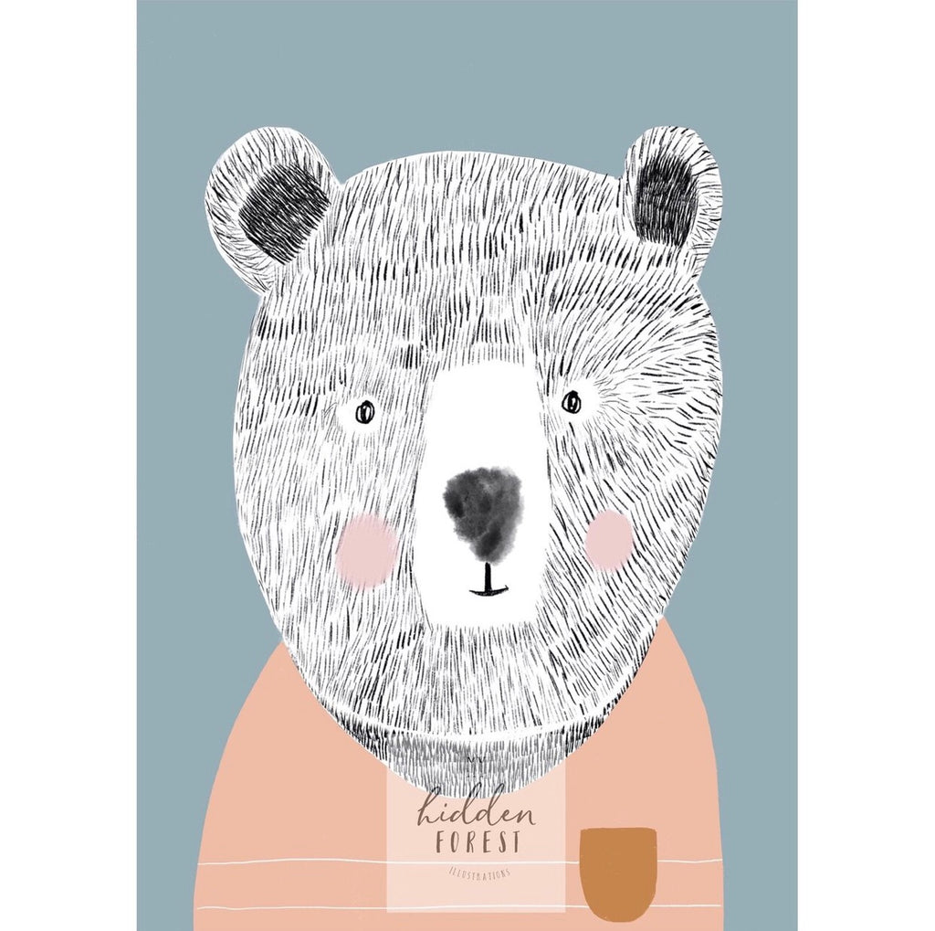 Teddy the bear pastel colourway - Fine Art Print