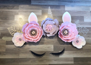 Unicorn paper flower wall arrangement - made to order Aus only