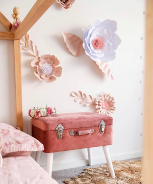 Deluxe Velvet storage stool - Dusty Pink