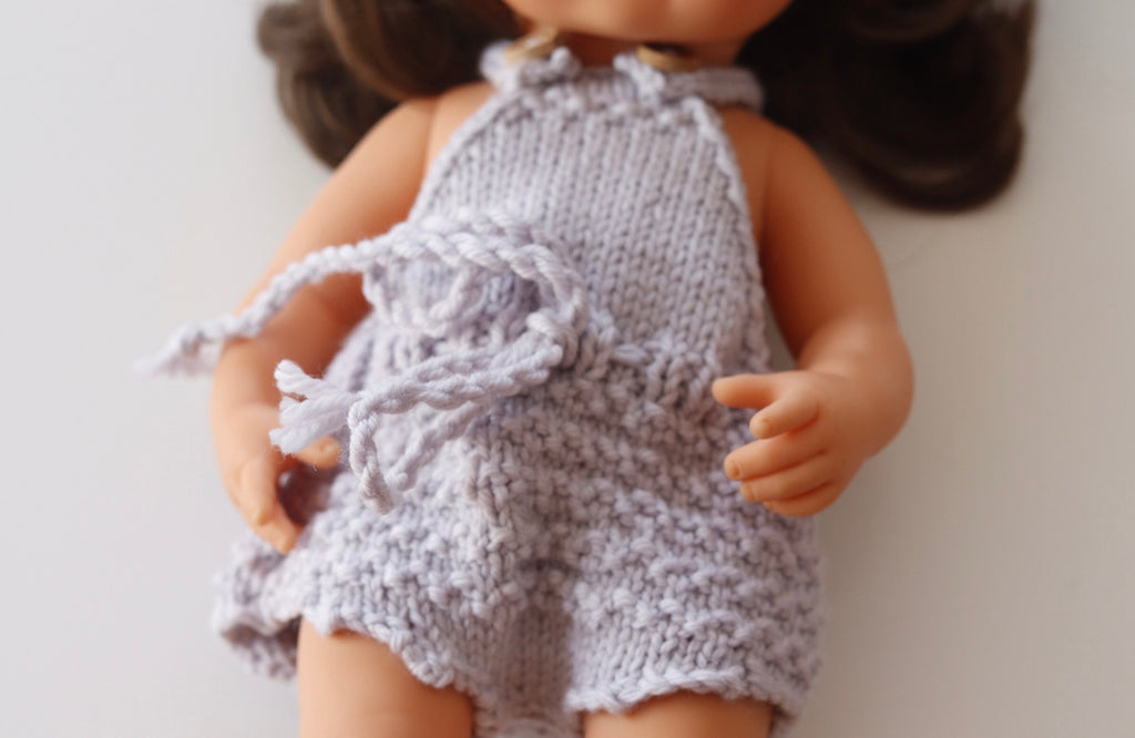 Knitted romper - pure wool to fit 38cm doll - Ghost Grey