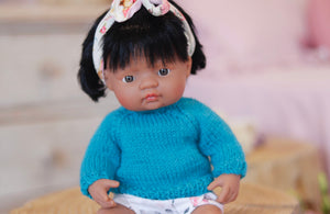 Doll Jumper - pure wool to fit 38cm doll - Teal