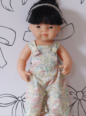 LIBERTY FINN DOLLS OVERALLS DITSY DAISY LIME