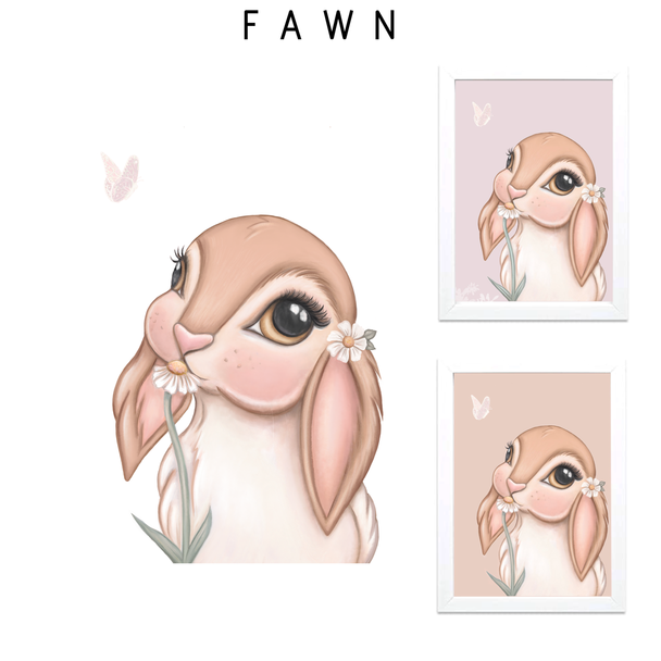 FAWN Bunny Print - Multiple backgrounds