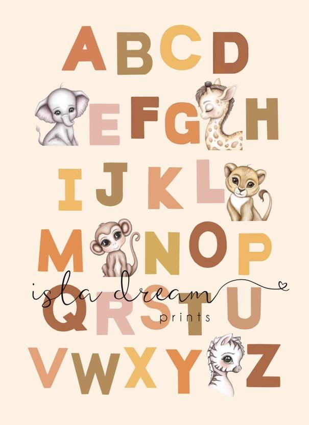 Animal Alphabet poster- Earthy tones Background A2 and 50x70