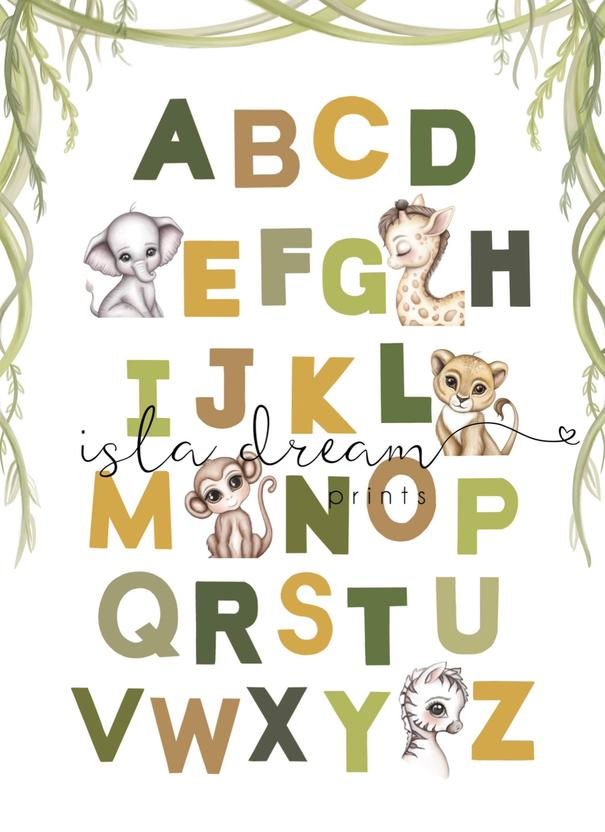 Animal Alphabet poster- Jungle Green Background A2 and 50x70