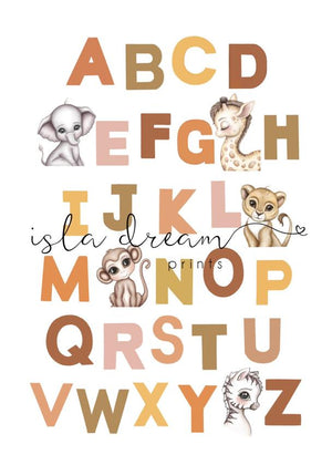 Animal Alphabet poster- White Background A2 and 50x70