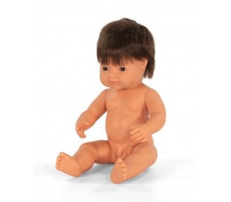 NEW Miniland Doll - Brunette Boy 38 cm