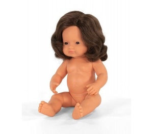 NEW Miniland Doll - Brunette Girl 38 cm