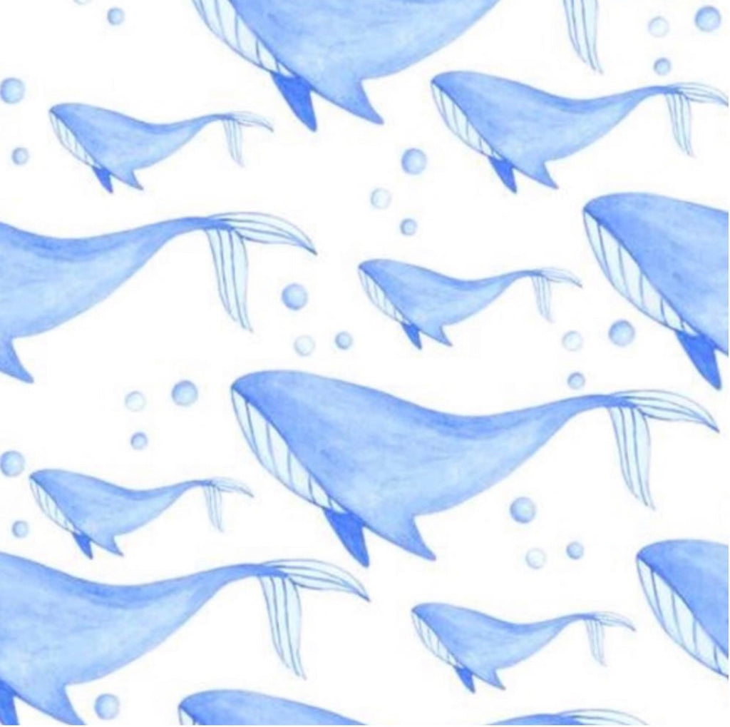 'WHALE SONG' Couture fitted sheet/pillowslip (Cot, single or KS)