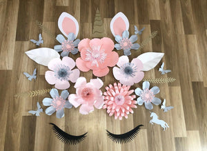 Deluxe unicorn paper flower arrangement - made to order Aus only Pink and grey