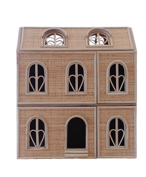 FRENCH CHATEAU RATTAN DOLLS HOUSE