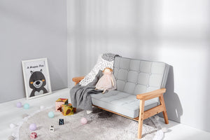 Kids Grey double armchair - Leathaire