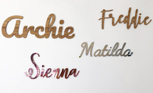 Silver Mirrored Wall Words - 8 Fonts  - Large or Medium - Aus orders only