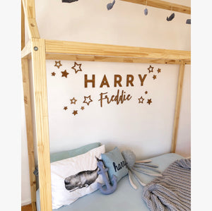 'Written in the stars' Large statement Bamboo name plaque sets - Aus orders only