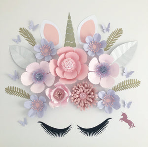 Deluxe Unicorn paper flower wall arrangement - made to order Aus only