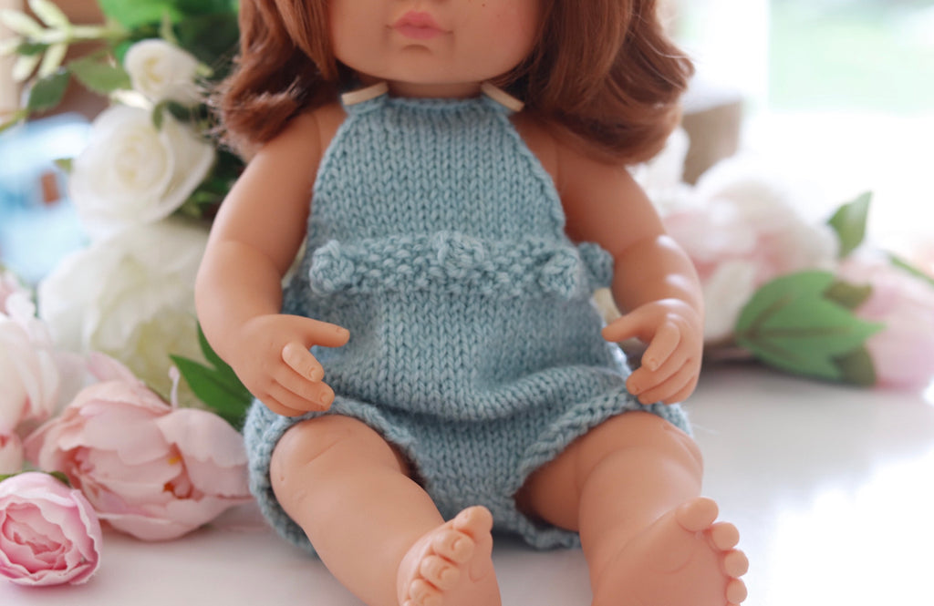 Knitted romper - pure wool to fit 38cm doll - Ocean blue