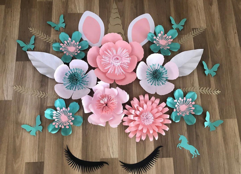 Deluxe unicorn wall flower arrangement - made to order Aus only Aqua and pink