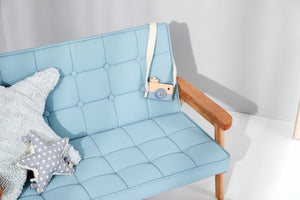 Kids Blue double armchair - Leathaire
