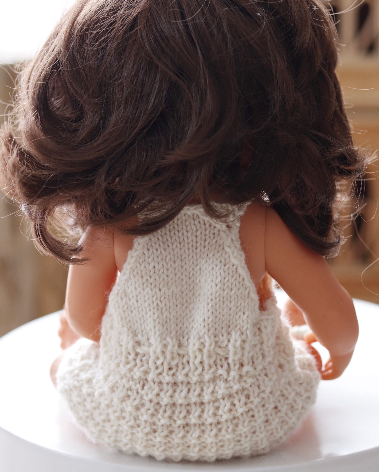 Knitted Romper - pure wool to fit 38cm doll - cream
