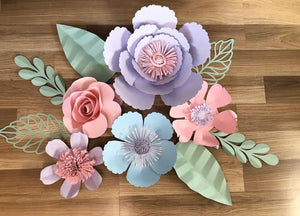 Pastel paper flower wall arrangement - made to order Aus only